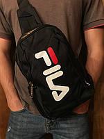 Сумка через плечо фила Fila спортивная мужская слинг черная реплика, фото 1