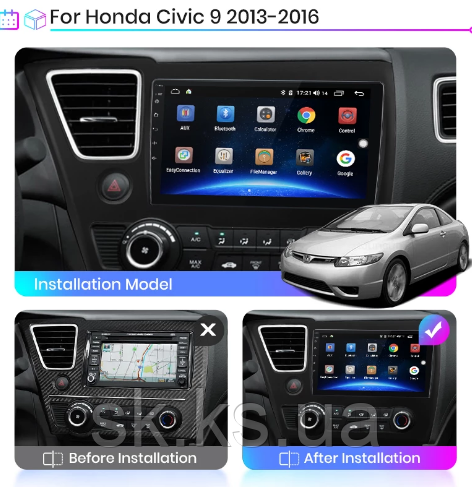 Junsun 4G Android магнитола для Honda для Honda Civic 4d 9 2013 - 2016  wifi