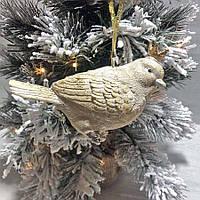 Елочное украшение новогоднее Птичка в короне, 12см, цвет - золотой, фото 1
