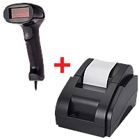 Акционный набор оборудования Принтер чеков XP-58II + Проводной сканер штрих-кода Jp-A1