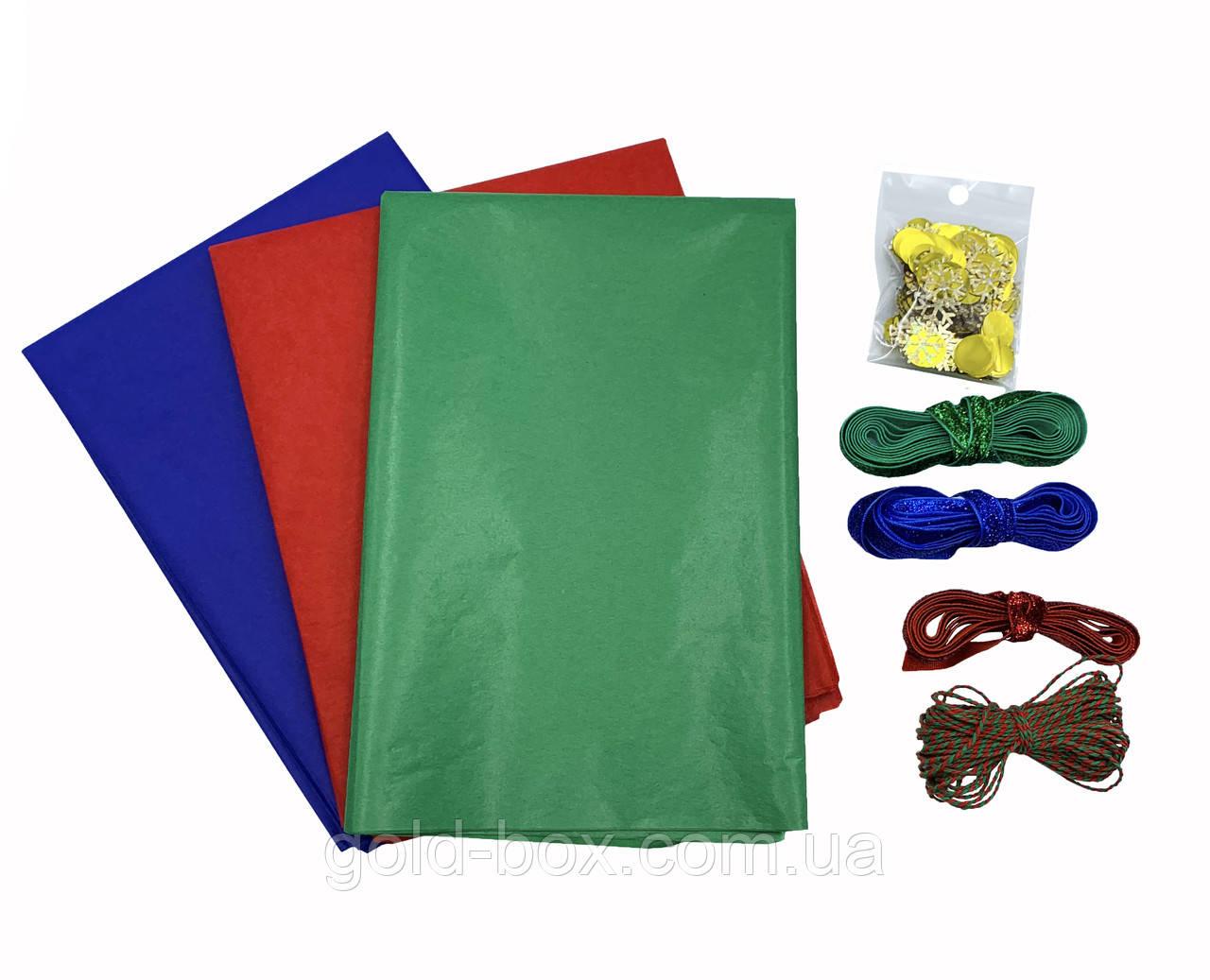Новогодний набор бумаги тишью 30 листов +3 ленты, бечёвка и конфетти
