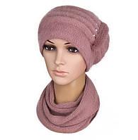 Комплект шапка и шарф вязаный женский Anna ангора пудрового цвета