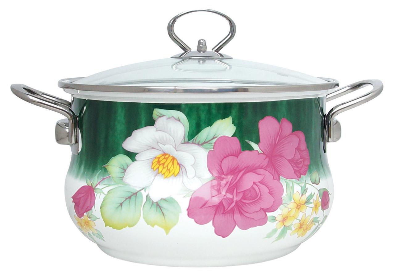 Эмалированная кастрюля с крышкой Benson BN-111 белая с цветочным декором (1,9 л)   кухонная посуда   кастрюли