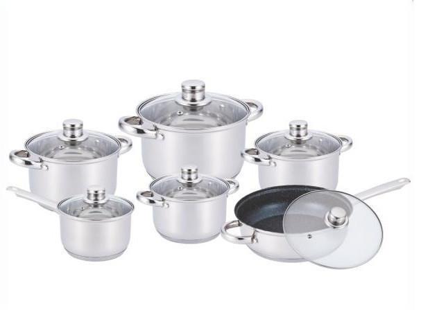 Набор кастрюль из нержавеющей стали 12 предметов Benson BN-208 (2,1 л, 2,1 л, 2,9 л, 3,9 л, 6,5 л) | сковорода