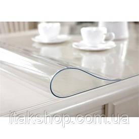 Скатерть Мягкое стекло для стола и мебели Soft Glass (1.9х1.5м) толщина 0.5 мм Прозрачная