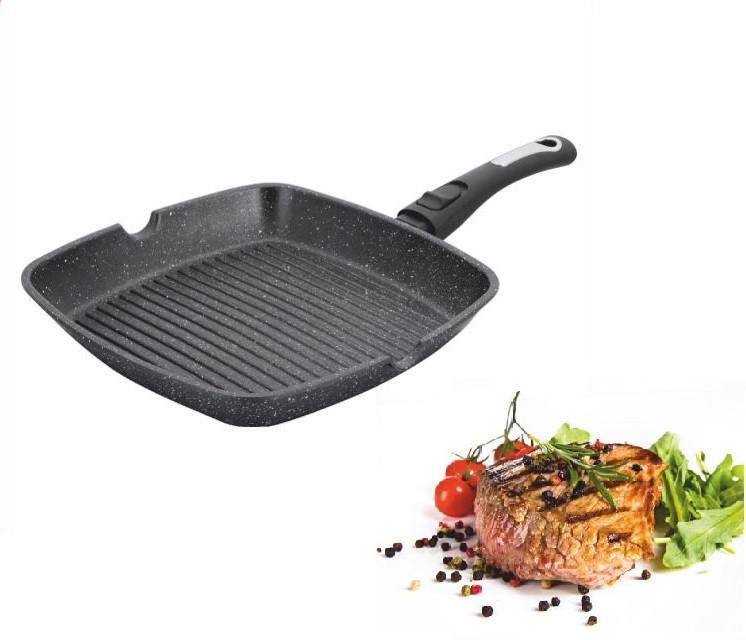 Сковорода-гриль мраморное покрытие Benson BN-311 (28*28*4 см) | сковородка со съемной ручкой SOFT TOUCH