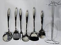Кухонный набор из 7 предметов Benson BN-452 | лопатка | вилка для мяса | половник | шумовка, фото 1