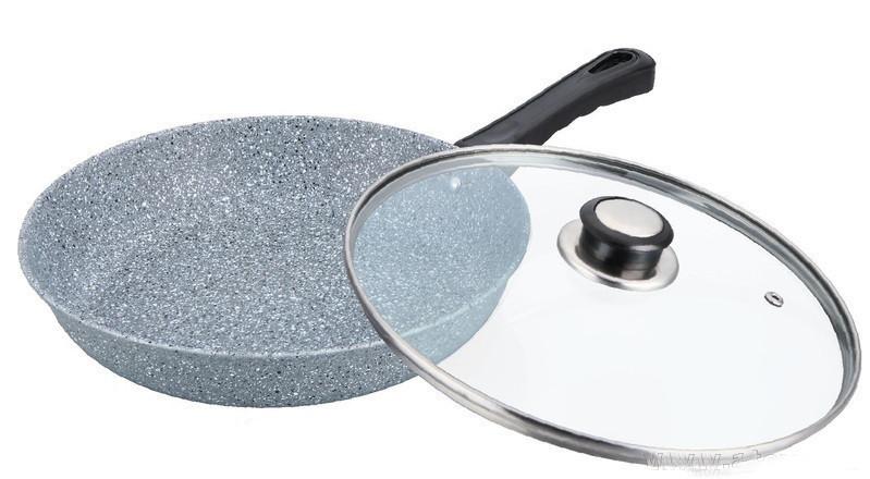 Сковорода глубокая с гранитным покрытием Benson BN-519 (26*7.5см), крышка, индукция, ручка бакелит  сковородка