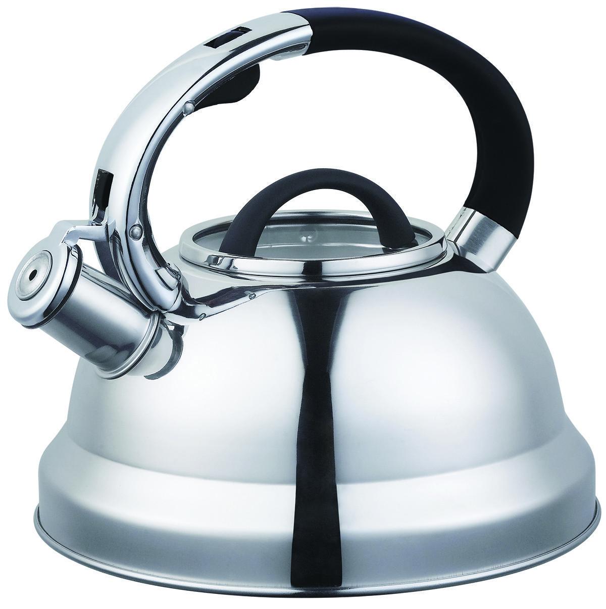Чайник со свистком из нержавеющей стали Benson BN-708 (3 л), нейлоновая ручка, индукция   свистящий чайник