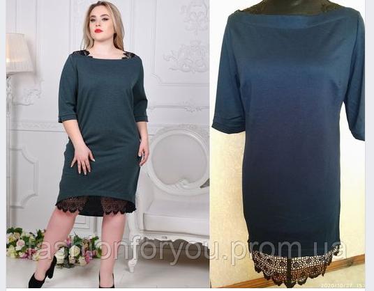 Трикотажное платье 1116 с кружевным низом-темно-синие