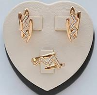 Набор Зигзаг с белыми кристаллами покрытие золотом 18к. Xuping. Серьги + кольцо размер 17.18.19.20.
