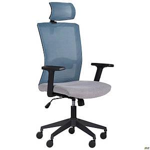 Кресло Uran Black HR сиденье Сидней-05/спинка Сетка SL-18 аквамарин TM AMF