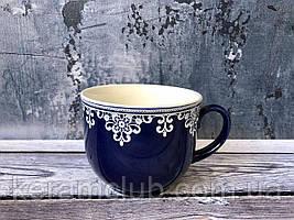 Чашка Фортуна Керамклуб кобальт с деколью кружево 500 мл