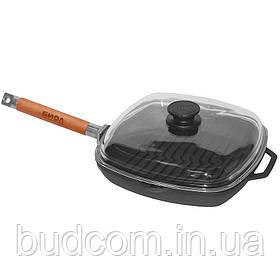 Сковорода гриль чугунная 28х28см квадратная со стеклянной крышкой и съемной ручкой Биол