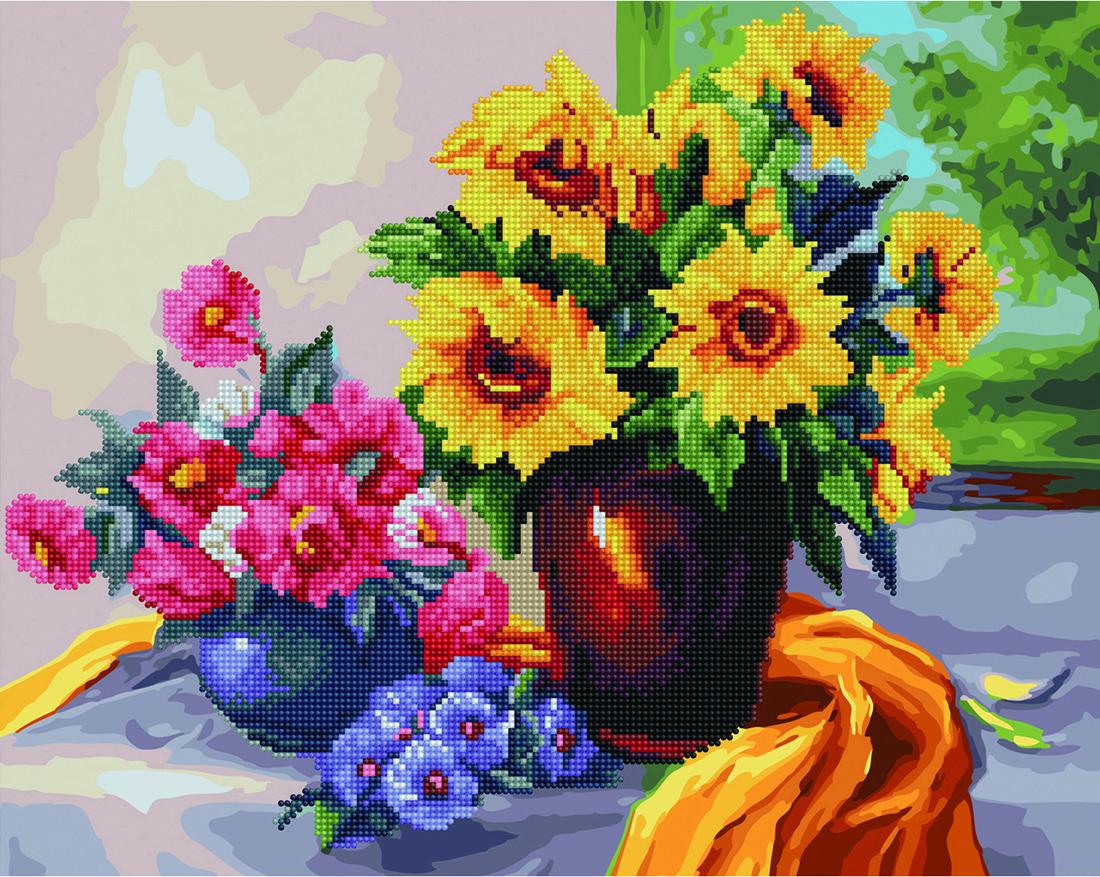 Алмазная мозаика и картина по номерам Цветочный натюрморт GZS1056 40х50 см Алмазная картина набор для росписи