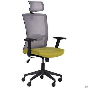 Кресло Uran Black HR сиденье Сидней-17/спинка Сетка HY-109 серая TM AMF