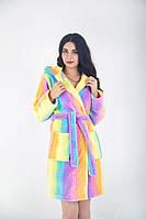 Разноцветный женский тёплый халат на запах