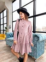 Женское вельветовое платье-рубашка, фото 1