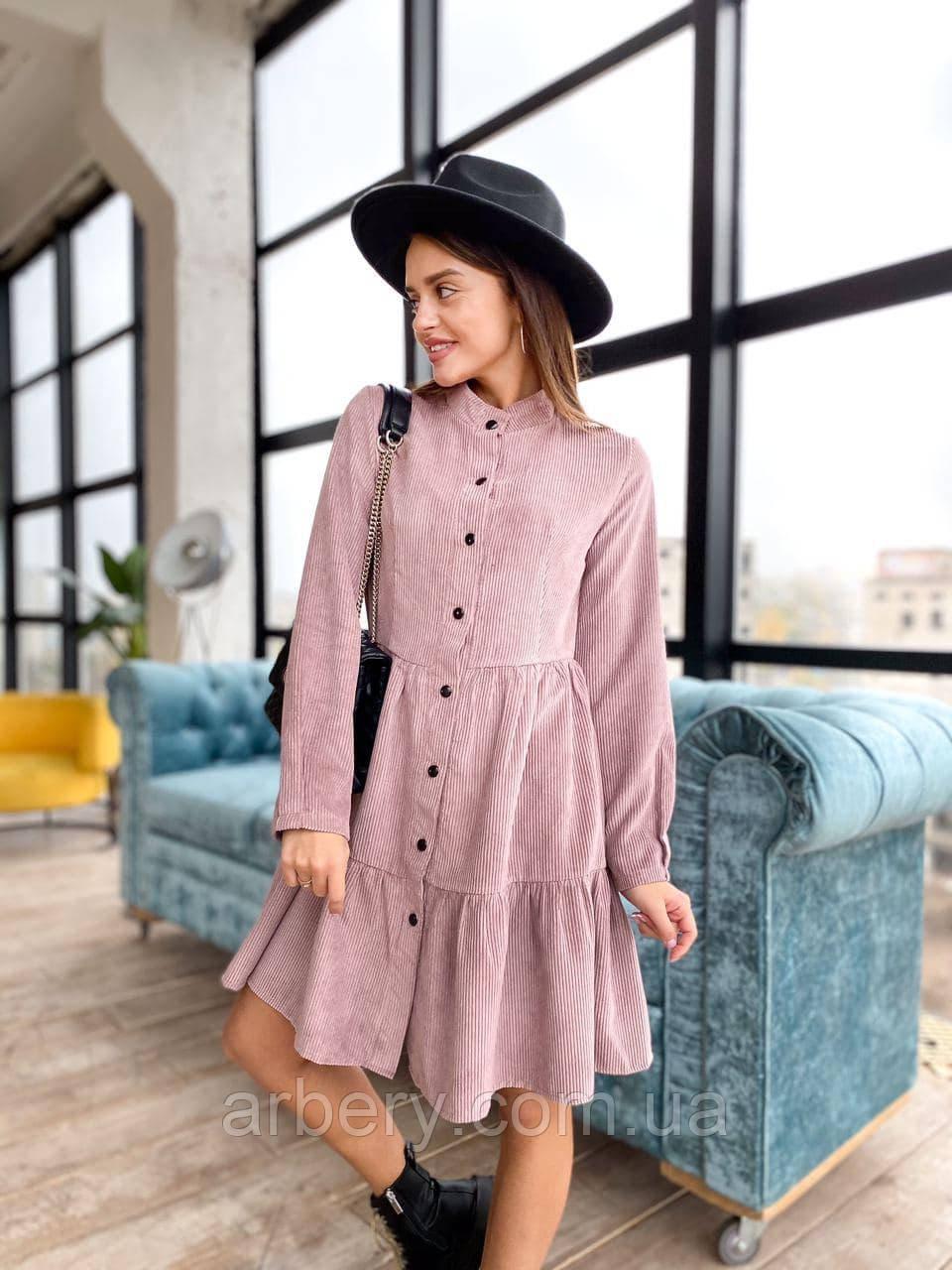Женское вельветовое платье-рубашка