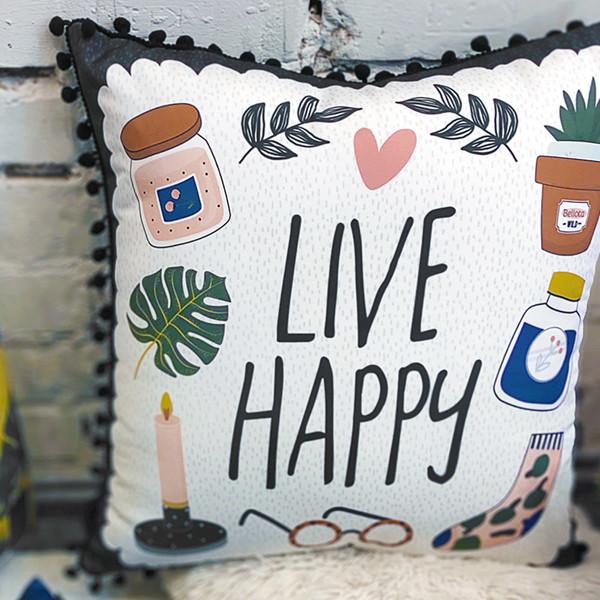 Подушка декоративная шелковая с помпонами Live happy 45x45 см (45ISP_21NG004)