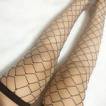 Чулки крупная сетка с блестящими стразами в стиле Moschino, фото 2