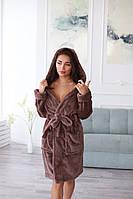 Теплый махровый халат женский средней длины