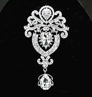 Брошь 9,5*5см корона с подвеской Crystal (кристалл прозрачная), фото 1