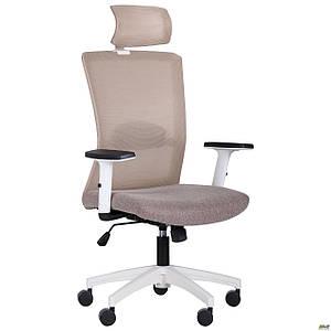 Кресло Uran White HR сиденье Сидней-09/спинка Сетка SL-02 беж TM AMF
