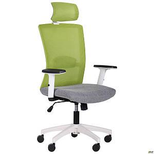Кресло Uran White HR сиденье Сидней-20/спинка Сетка SL-06 салатовая TM AMF