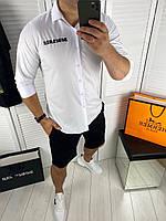 Мужская стильная белая классическая рубашка