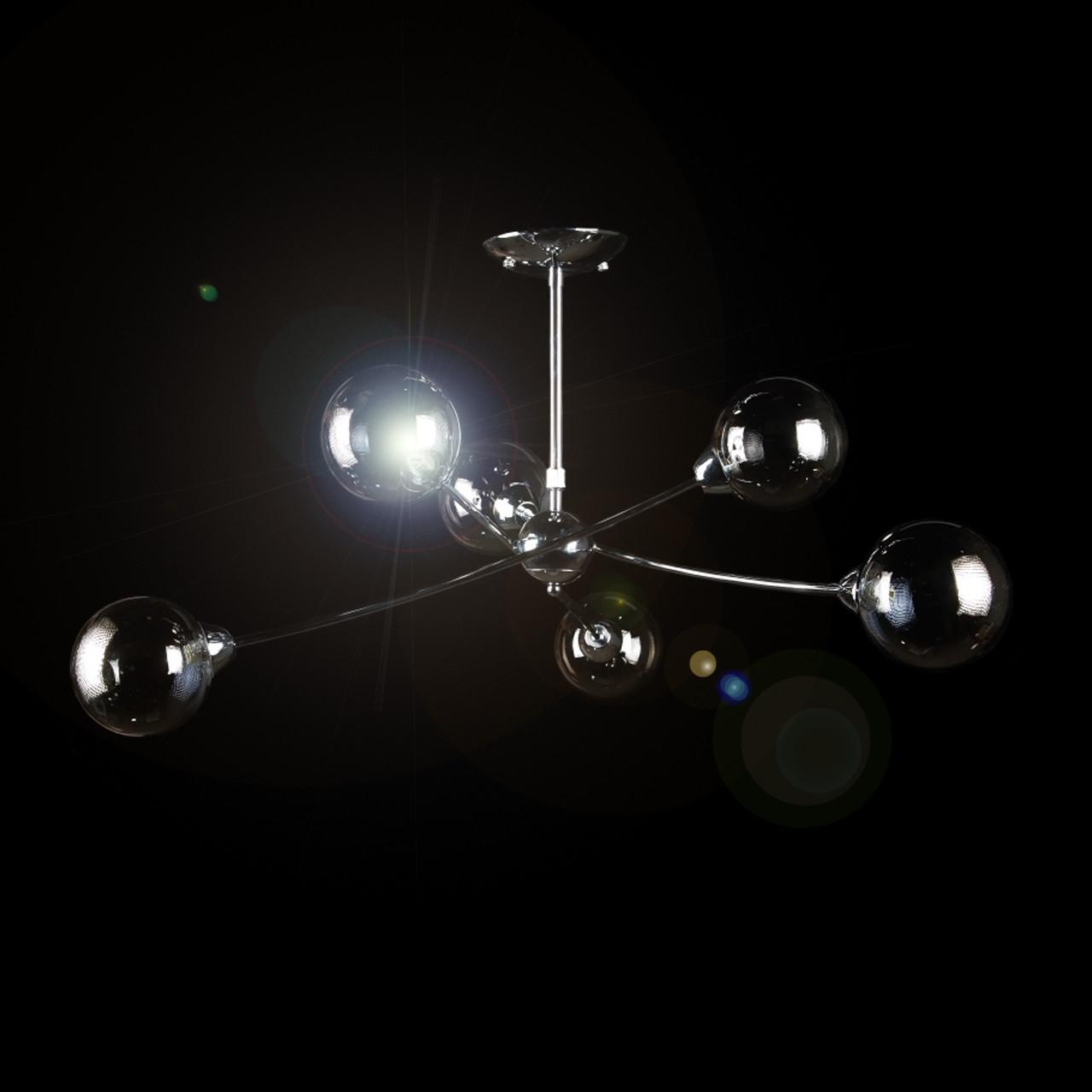 Хромированная люстра лофт молекула на 6 плафонов VL-61150/6 (CR)