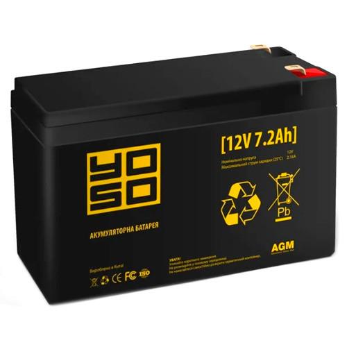 Акумулятор свинцево-кислотний AGM 12В 7.2 Ач YOSO 1272F1