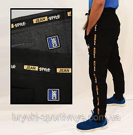 Брюки спортивные мужские зимние под манжет XL - 5XL Штаны спортивные утепленные с лампасами, Черный