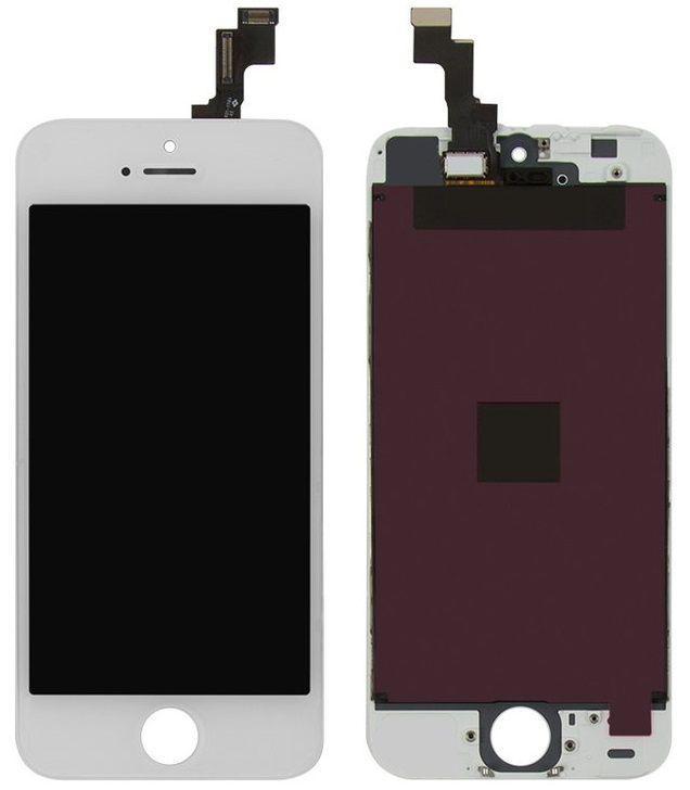 Дисплей (екран) для телефону Apple iPhone 5S, SE + Touchscreen (переклеено скло, original) White