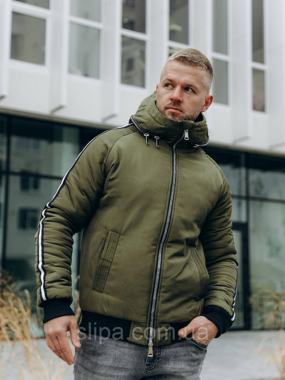 Чоловіча зимова куртка з капюшоном хакі ( синтепух )
