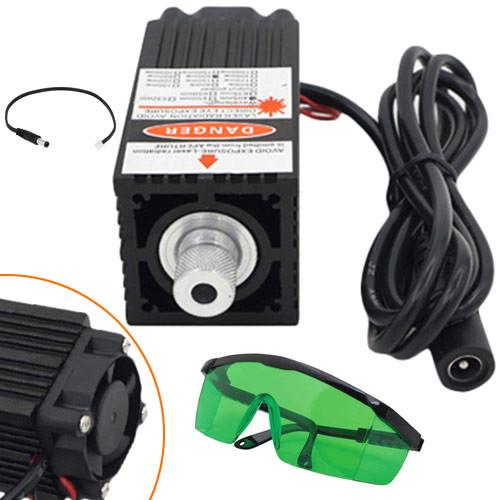 Потужний лазер для різання гравіювання 500мВт 405нм + захистів. очки
