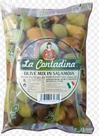 Оливки зеленые с косточкой МИХ 850г La Contadina М / В (1/10)