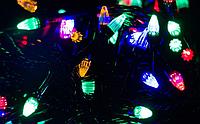 Гирлянда чёрный шнур 300 Led конусные лампочки. мультик, фото 1