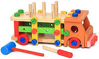 Деревянный конструктор для детей Автомобиль с болтами, молотком и отверткой Vivi Woodtoy (MD 2265)