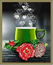 Вишивка бісером, Канва квіти натюрморт троянда чашечка Зелена