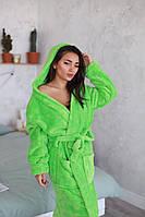 Яркий длинный женский тёплый халат на запах , с капюшоном
