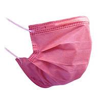 Маска медицинская детская и взрослая  трехслойная, розовая (50 шт упаковка)
