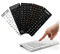 Наклейки на клавиатуру белые с черными Русскими и Английскими буквами