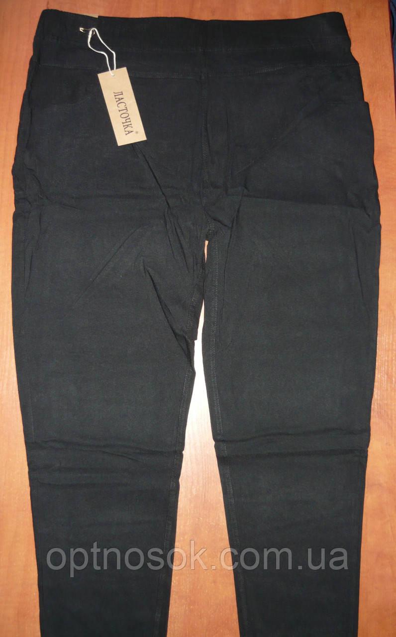 """Штаны женские джинсовые """"Ласточка"""" с  карманами на байке. Батал. р. 6XL. Черные"""