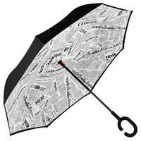 Зонт обратного сложения, антизонт, умный зонт, зонт наоборот Up Brella Белая Газета 151008