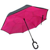 Зонт обратного сложения, антизонт, умный зонт, зонт наоборот Up Brella Малиновый 150995