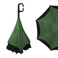 Зонт обратного сложения, антизонт, умный зонт, зонт наоборот Up Brella Темно-Зелёный 151033