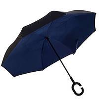Зонт обратного сложения, антизонт, умный зонт, зонт наоборот Up Brella Темно-Синий 151021