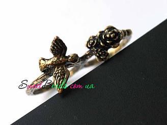 Кольцо Птица у цветка, 2 пальца