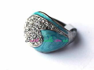 Перстень с кристаллами р.17, голубой